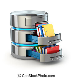 Database storage concept. Hard disk icon with folders...