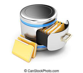 Database storage concept isolated on white background. 3d...