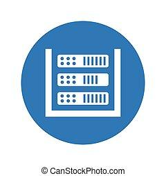 Database, storage, server round blue icon
