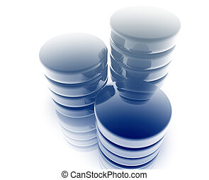Database storage technology abstract illustration with 3d...