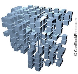 Database structure data cubes network connections - A 3D...
