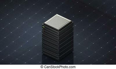 Database symbol and computer folder