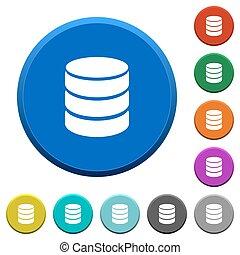 Database symbol beveled buttons