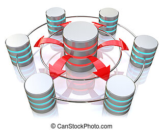 Database symbol connected to metal hard disk icons (3d...
