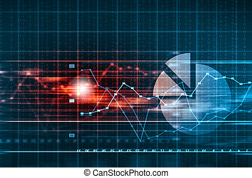 Database Table - Business graph with arrow showing profits...