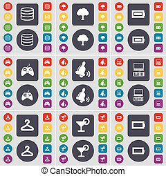Database, Tree, Battery, Gamepad, Bell, Laptop, Hanger, Cocktail, Battery icon symbol. A large set of flat, colored buttons for your design. Vector