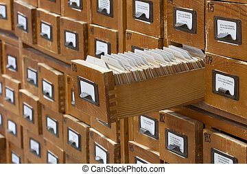 database, vendemmia, concept., scheda biblioteca, file, catalog., o, cabinet.