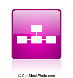 database violet square web glossy icon