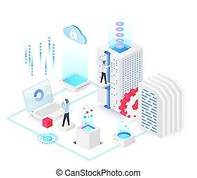 Database white isometric vector illustration