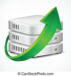 Database with green arrow, isolated on white, vector illustration