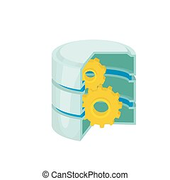 Database with gears icon, cartoon style