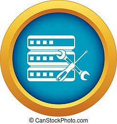 Database with screwdriver and spanner icon blue vector...