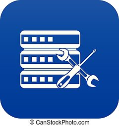 Database with screwdriver and spanner icon digital blue for...