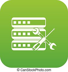 Database with screwdriver and spanner icon digital green for...