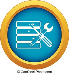 Database with screwdriverl and spanner icon blue vector...