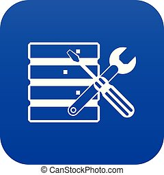 Database with screwdriverl and spanner icon digital blue for...