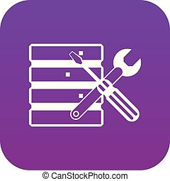 Database with screwdriverl and spanner icon digital purple...