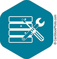 Database with screwdriverl and spanner icon in simple style...