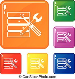 Database with screwdriverl and spanner icons set vector...