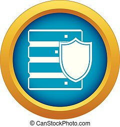 Database with shield icon blue vector isolated
