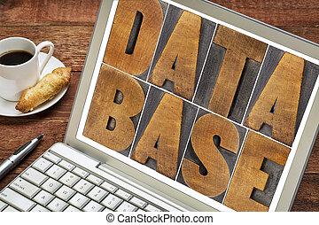 database word in wood type