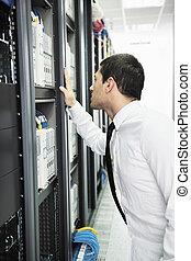 datacenter, חדר, צעיר, זה, שרת, הנדס