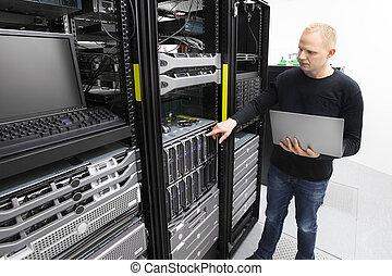 datacenter, יועץ, להב, זה, שרתים, מוניטורים