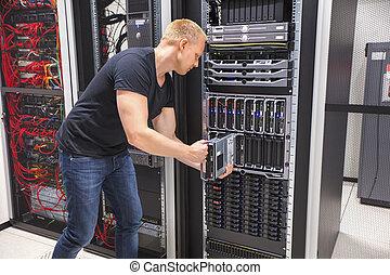 datacenter, להב, להתקין, שרת, מחשב, הנדס