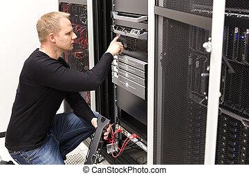 datacenter, סן, זה, שרתים, טעון, טכנאי