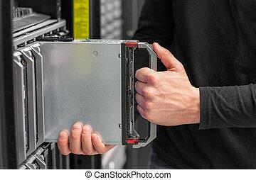 datacenter, צילום מקרוב, יועץ, להב, זה, שרת, התקן