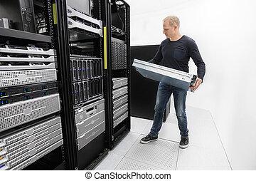 datacenter, berater, ihm, server, installieren, gestell