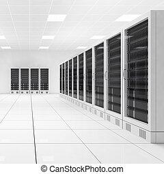 datacenter, com, dois, filas, de, computadores, central, vista
