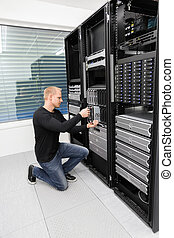 datacenter, consulente, lama, esso, sostituire, server