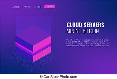 datacenter, exploitation minière, concept., blockchain, isométrique, bitcoin, fond, serveurs, ou, nuage, 3d