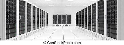 datacenter, filas, central, computadoras, dos, vista