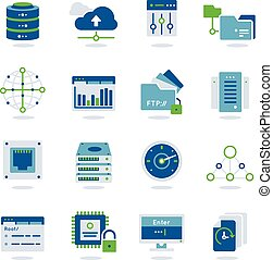 Datacenter Flat Icon Set - Datacenter flat colored realistic...
