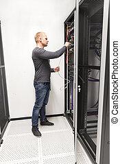 datacenter, hálózat, installs, konzulens, azt, állvány