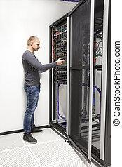 datacenter, hálózat, konzulens, azt, épít, állvány