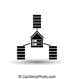 Datacenter Icon. Black on White Background With Shadow....
