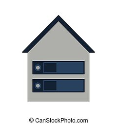 Datacenter Icon. Flat color design. Data series. Vector...