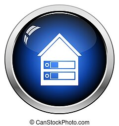 Datacenter Icon. Glossy Button Design. Vector Illustration.
