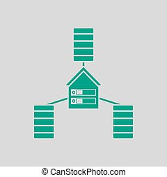 Datacenter Icon. Green on Gray Background. Vector...