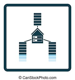Datacenter Icon. Square Shadow Reflection Design. Vector...