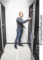 datacenter, ingénieur, connecter, réseau, il