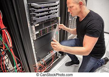datacenter, ingénieur, il, fonctionnement, serveur