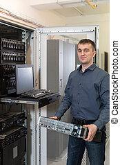 datacenter, installs, il, équipement, étagère, ingénieur