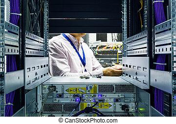 datacenter, installs, il, jbod, étagère, ingénieur