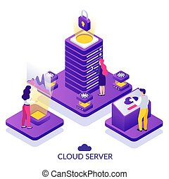 Datacenter Isometric Background - Datacenter secure cloud...