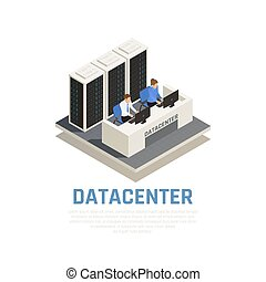 Datacenter Isometric Concept - Datacenter concept with...