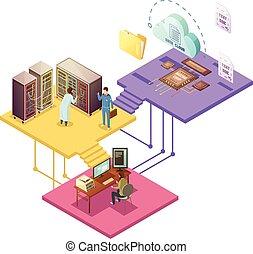 datacenter, isometrico, illustrazione